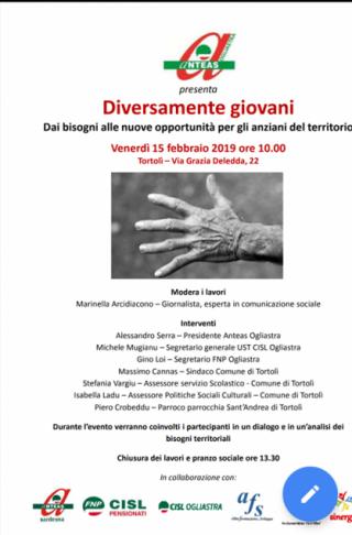 DIVERSAMENTE GIOVANI -ANTEAS OGLIASTRA – Progetto rivolto al confronto intergenerazionale